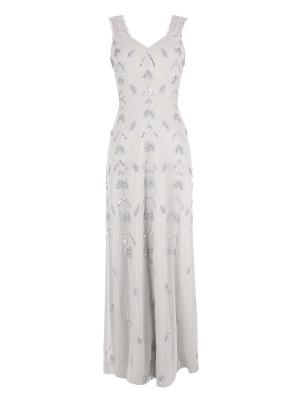Maya Grey Lace Straps Leaf Embellished Maxi Dress - Wholesale Pack