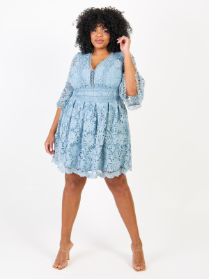 Lovedrobe Luxe Sky Blue Floral Lace Skater Dress In - Wholesale Pack