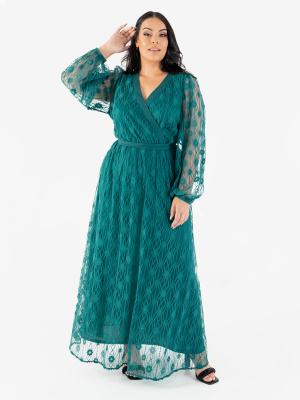 Lovedrobe Luxe Green Floral Lace Faux Wrap Maxi Dress - Wholesale Pack