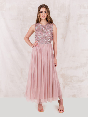 Maya Frosted Pink Embellished Midaxi Dress - STRAIGHT SIZE Wholesale Pack