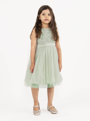 Mini Maya Sage Green Delicate Sequin Midi Dress with Bow -Wholesale Pack