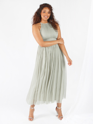 Anaya With Love Soft Sage Halter Neck Recycled Tulle Midaxi Dress - Wholesale Pack