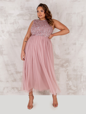 Maya Frosted Pink Embellished Midaxi Dress - PLUS SIZE Wholesale Pack