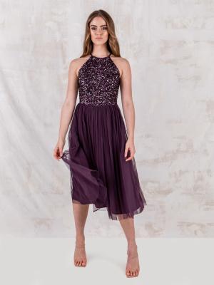 Maya Berry Embellished Halter Neck Midi Dress - STRAIGHT SIZE Wholesale Pack