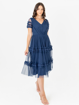 Anaya With Love Recycled Indigo Blue Short Sleeve Midi Dress with Ruffle Detail - STRAIGHT SIZE Wholesale Pack