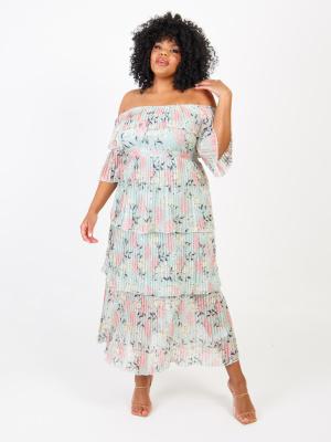 Lovedrobe Luxe Mint Floral Bardot Pleat Maxi Dress - Wholesale Pack