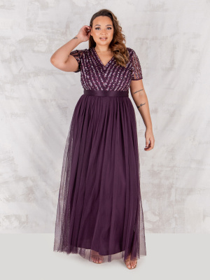 Maya Berry Stripe Embellished Maxi Dress With Sash Belt - PLUS SIZE Wholesale Pack