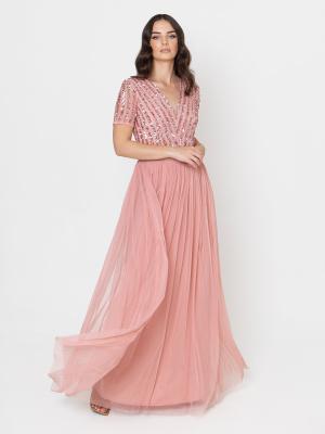 Maya Blossom Pink Stripe Embellished Maxi Dress With Sash Belt - STARIGHT SIZE Wholesale Pack
