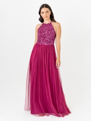 Maya Claret Pink Embellished Halter Neck Maxi Dress - Wholesale Pack
