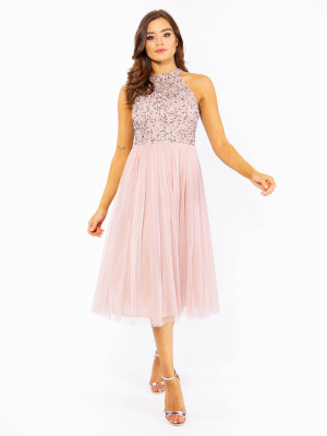 Maya Frosted Pink Embellished Halter Neck Midi Dress - Wholesale Pack