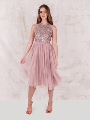 Maya Frosted Pink Embellished Halter Neck Midi Dress - STRAIGHT SIZE Wholesale Pack