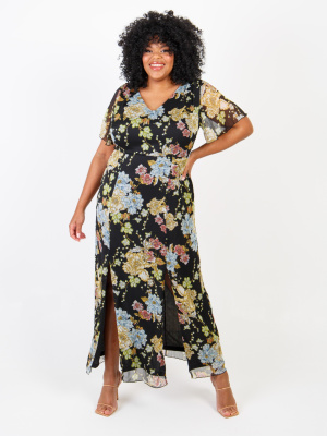 Lovedrobe Floral Print Maxi Dress With Double Front Split - Wholesale Pack