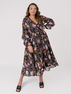 Lovedrobe Dark Floral Lace Trim Dip Hem Maxi Dress - Wholesale Pack