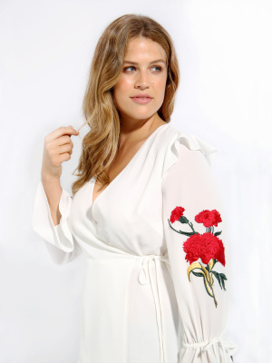 LOVEDROBE IVORY WRAP BLOUSE WITH EMBROIDERED SLEEVES - WHOLESALE PACK