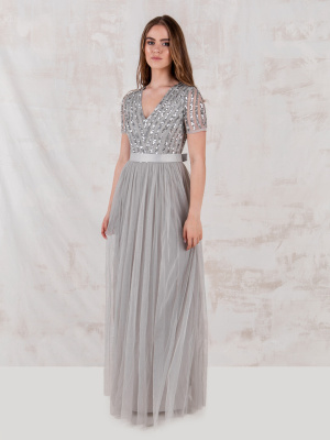 Maya Soft Grey Stripe Embellished Maxi Dress With Sash Belt - STRAIGHT SIZE Wholesale Pack