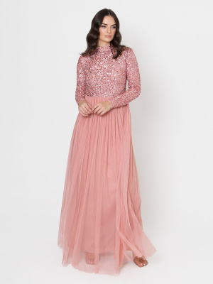 Maya Blossom Pink High Neck Embellished Maxi Dress - Wholesale Pack