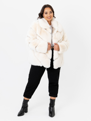 Lovedrobe Ivory Faux Fur Coat with Faux Leather Detail - PLUS SIZE Wholesale Pack