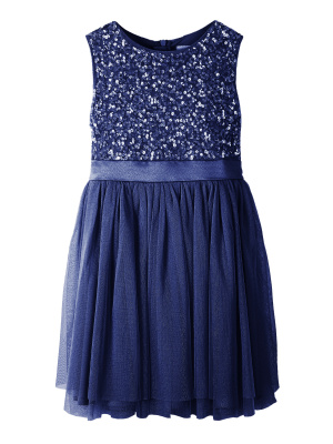 Mini Maya Navy Delicate Sequin Midi Dress With Bow - Wholesale Pack