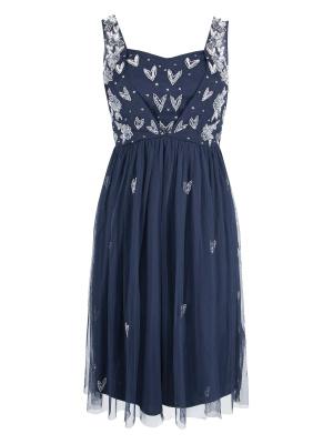 Maya Curve Navy Heart Embellished Midi Dress - Wholesale Pack