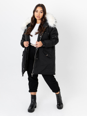 Lovedrobe Black Hooded Parka With Removable Faux Fur Trim - PLUS SIZE Wholesale Pack