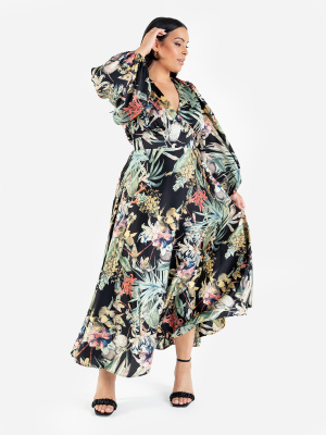 Lovedrobe Luxe Botanical V Neck Midaxi Dress with Balloon Sleeves - Wholesale Pack