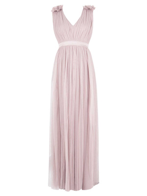 Maya Frosted Pink Maxi Dress With Ruffle Shoulder Detail - Wholesale Pack