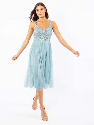 Maya Aquatic Blue Embellished Midi Dress - Wholesale Pack