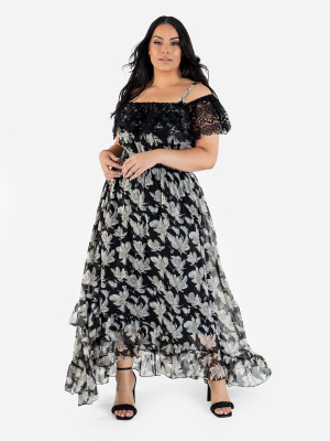 Lovedrobe Luxe Floral Bardot Midi Dress with Lace and Ruffle Detail - Wholesale Pack